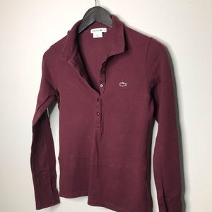 Lacoste long sleeve polo maroon